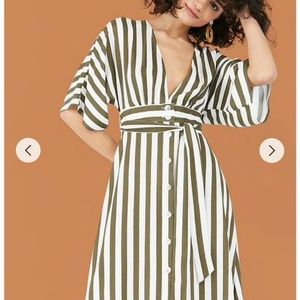Forever 21 // plunging striped midi dress NWT